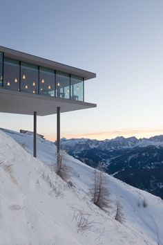 Lumen Museum of Mountain Photography perches on a mountainside in the Italian Dolomites Futuristic Architecture, Amazing Architecture, Landscape Architecture, Interior Architecture, Architecture Images, Budapest Cafe, Modern Exterior, Exterior Design, Restaurants In Nyc
