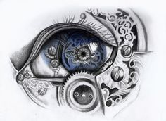 Mechanical eye art print by LaurenMcEwen (steampunk) Steampunk Drawing, Steampunk Kunst, Steampunk Witch, Realistic Eye Drawing, Drawing Eyes, Mechanical Art, Mechanical Tattoo, Creation Art, Drawn Art