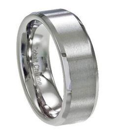 Extremely sleek and sophisticated, this 6mm band is one of our best selling men's cobalt chrome wedding rings. Men who appreciate a simple, clean-lined design will love its flat satin face and sharply defined beveled edges. The high polish of its beveled edges contrasts well with the matte satin face, and a comfort-fit interior makes it easy to wear all day.  Web Page: http://www.justmensrings.com/Mens-Cobalt-Chrome-Wedding-Ring-with-Satin-Face-and-Polished-Beveled-Edges-6mm--JCB0101_p_707.html