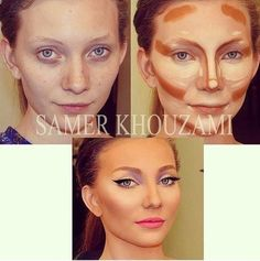 the art of contouring and highlighting. i had to pin this bc she doesnt even look like the same girl!!