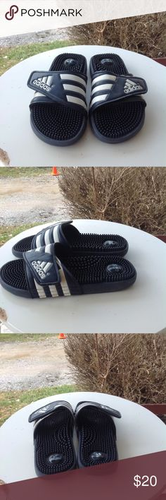 Mens Adidas flip flops Size 9, dark blue, in good condition. adidas Shoes Sandals & Flip-Flops