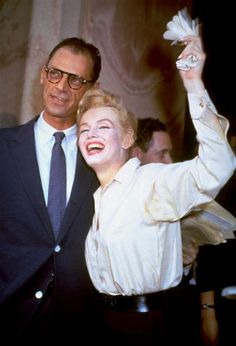 "Newlyweds Marilyn Monroe and Arthur Miller are shown after their civil wedding ceremony in White Plains, N.Y., June 29, 1956.  Miller, the Pulitzer prize-winning playwright whose most famous fictional creation, Willy Loman in ""Death of a Salesman,"" came to symbolize the American Dream gone awry."