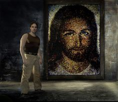 A portrait of Jesus Christ Made Out of 24,790 Colored Push Pins. It was made by world renowned artist Rob Surette