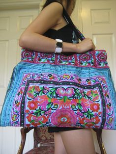 Ethnic Hmong Vintage Style Hobo Boho Tote by LannaThaiCreations