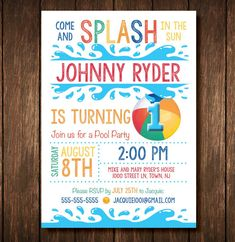 First Birthday Pool Party Invitation - Digital Copy