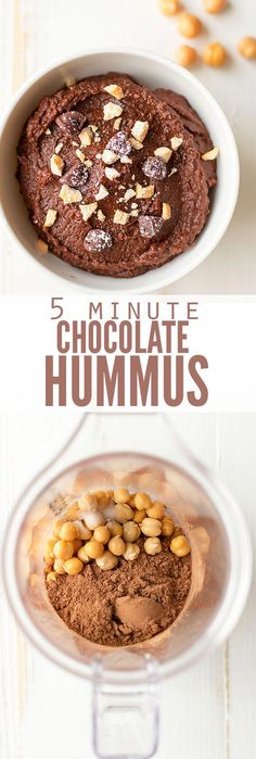 5 Minute Chocolate Hummus What do you get when you combine nutrient dense beans with cocoa? My son thinks it tastes like Nutella and my daughter eats it by the spoonful. This is by far one of their favorite snacks! Vegan Sweets, Healthy Sweets, Vegan Snacks, Healthy Snacks, Vegan Recipes, Cooking Recipes, Vegetarian Cooking, Chocolate Hummus, Cocoa Chocolate