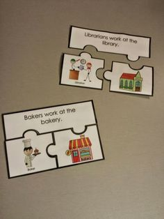 Three piece puzzles for community helpers. Who works where? These are one part…