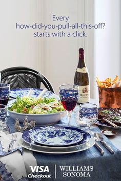Visa Checkout users can get $20 off any order of $100 or more plus free shipping online at Williams-Sonoma.   Must be a registered Visa Checkout user signed up for promotional emails to receive promo code. Offer valid thru 1/24/2016 or while supplies last. Limit 1 per person. Exclusions apply. See terms.  Visa. Everywhere You Want To Be