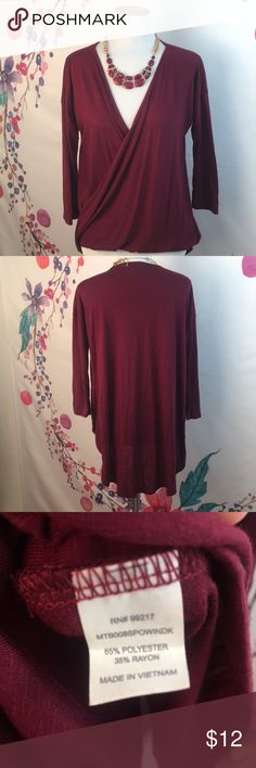 Burgundy * Maroon * Blouse Tunic style blouse in maroon / burgundy / cranberry color.  Wrap style in the front, tunic style in the back. Gathers up front for a fitted look and hangs loose in the back to cover the backside. Very pretty.  Worn once! Charming Charlie Tops Tunics