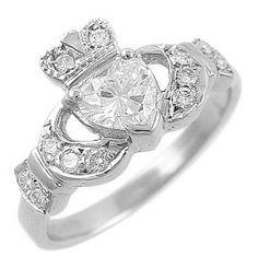Yes PLEASE!!!!! 14K White Gold Diamond Set Claddagh Ring