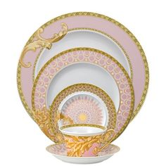 """"""" Shell-pink and gold arabesque china pattern by Versace for Rosenthal. My dream fine china Delft, China Patterns, Dinner Sets, Vintage China, Vintage Crockery, Antique Dishes, Vintage Cups, Antique China, Place Settings"""