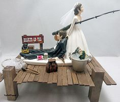 Hooked On You Fishing Wedding Cake Topper  Bride and Groom