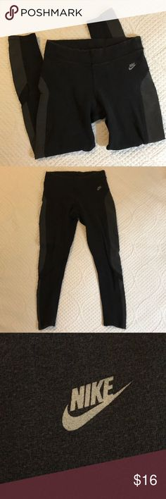 Nike Work Out Pants Skinny Size Small Nike Size Small Skinny Work Out Pants. Body of pants is 88% cotton, 10% nylon and 2% spandex. Side panels are 80% nylon and 20% spandex. Perfect for wearing to the gym! Some fade due to washing but otherwise VGUC. Asking $16. Smoke free home. Nike Pants