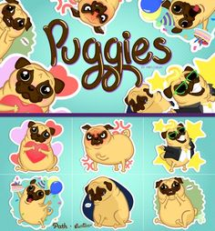 """I count on you! vote here  http://thrdl.es/~/2cPH Deep wrinkles, curly tail that wiggles like a piggy, chubby little body and very expressive big eyes!  Let your conversation be puggie!  I entered to the """"Path Challenge"""" so I already designed this 6 stickers but with your help giving me high 5! I could win and turn it in a pack of 24 path stickers."""