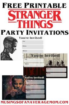 Stranger Things is my all time favourite Netflix series. So I created some free printable Stranger Things Party printables. Stranger Things Gifts, Stranger Things Halloween, Stranger Things Steve, Stranger Things Aesthetic, Stranger Things Netflix, Slumber Party Invitations, Sleepover Party, Birthday Ideas, Birthday Supplies