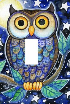 Blue Purple and Grey Owl light switch plate cover New beautiful elegant animal t - Other