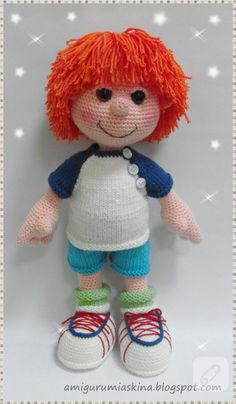 Amigurumi boy, no pattern.  For reference only.