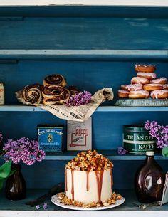 Chocolate Cake with Caramel Buttercream and Crunchy Caramel Popcorn