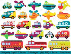 Emergency Transportation Clipart Clip Art Vectors, Police Rescue Fire Vehicle Clipart Clip Art Vectors - Commercial and Personal Use