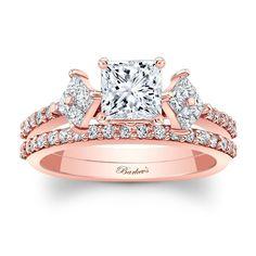 Princess Cut Rose Gold Bridal Set 8084SP