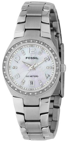 Fossil Watch , Fossil Women's AM4141 Stainless Steel Bracelet Mother-Of-Pearl Glitz Analog Dial Watch...$63.38