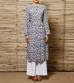Grey Ikat Cotton Kurta | House of Qidwa