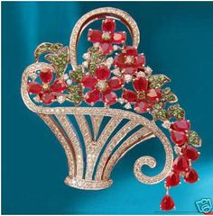 """""""Edith""""...only $3,200 or P140,800!! 3.42ct Diamond ,Ruby & Emerald Basket Brooch! Imported, world-class quality, not pre-owned, not pawned, not stolen. We deliver worldwide <3"""