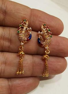 Only 5 left in stock. Delivery to pincode 360001 - Rajkot between Oct Details 24k Gold Jewelry, Soutache Jewelry, Gold Necklaces, Delicate Jewelry, Beaded Jewelry, Jewelry Design Earrings, Gold Earrings Designs, Necklace Designs, Pendant Jewelry