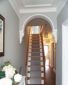 [orginal_title] – Home Decor Designs Kingdom Picture Perfect with a Dimensional Stairway Arch Hallway Colour Schemes, Hallway Paint Colors, Valspar Paint Colors, Tiled Hallway, Hallway Walls, Long Hallway, Victorian Terrace Hallway, Edwardian Hallway, Hallway Decorating
