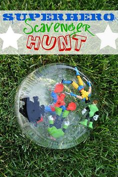 """Superhero scavenger hunt: Such a cute idea! A """"bad guy"""" captured all of your child's super hero figures and leaves clues for you to find them. Surprise at the end for your child to help rescue them."""
