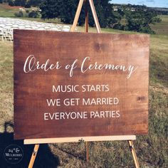 Wedding Ceremony Sign, Order of Ceremony, Rustic Wedding Sign, Wedding Sign, Married Sign by 24thandMulberry on Etsy
