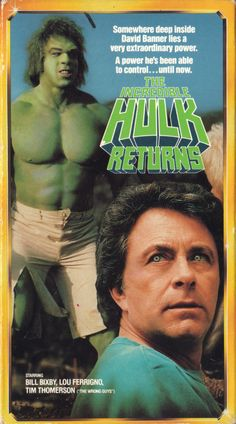 "vhscoverjunkie: "" The Incredible Hulk Returns "" I Movie, The Incredible Hulk 1978, Marvel Animation, Sci Fi Tv Series, Wonder Twins, Bruce Banner, Comic Panels, Old Ads, Incredible Hulk"