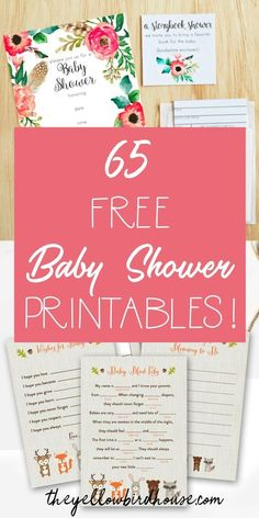 65 Free Baby Shower Printables for throwing an adorable party! Free printables include baby shower invitations, games and decor. These free printables for baby shower include woodland themes, nautical themes and both boy and girl color schemes Printable Baby Shower Invitations, Baby Shower Invites For Girl, Baby Shower Favors, Baby Shower Themes, Shower Ideas, Shower Gifts, Invitation Ideas, Shower Party, Diy Babyshower Invitations