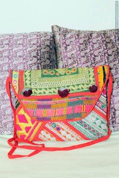 Hand Embroidered Large Size Vintage Clutch with Sling