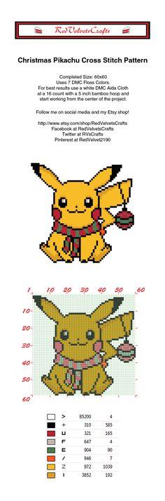Free Christmas Pikachu Cross Stitch Pattern #pokemon #pokemongo #crossstitch…