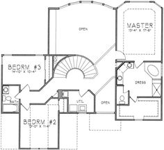 Upper Floor. Love the curved stairs and bridge overlooking entrance and great room. Master bathroom and closet need to be reconfigured and linen closet added in that space.