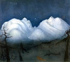 there's something eerie about the tree branches & stealthy animal but i like the tiny, distinct stars. Winter night in the Mountains - Harald Oscar Sohlberg Nocturne, Art Archive, Winter Night, Mountain Landscape, Landscape Paintings, Landscapes, Landscape Art, Beautiful Artwork, Watercolour Painting