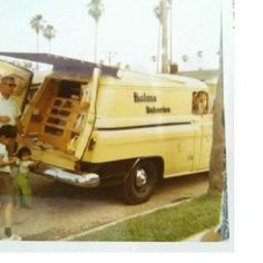 Helms bakery truck ~ so exciting to see those long drawers of donuts slide out!