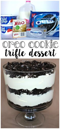 oreo cookie trifle dessert recipe was amazing - gone within the first 10 minutes of the party!This oreo cookie trifle dessert recipe was amazing - gone within the first 10 minutes of the party! Brownie Desserts, Mini Desserts, Dessert Oreo, Coconut Dessert, Oreo Dessert Recipes, Layered Desserts, Delicious Desserts, Party Desserts, Amazing Dessert Recipes