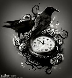 Interest tattoo ideas and design - Crow And Sand Clock Tattoo For Men Photo - 4. If you want to make a tattoo, look how it looks from other people!