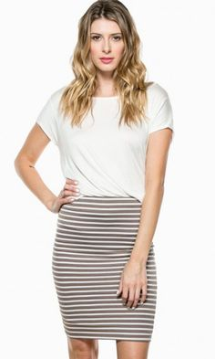 IN BETWEEN LINES SKIRT IN TAUPE
