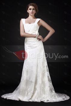 帝国スクエアネック刺繍入りチャペルウェディングドレス