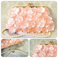 Peach Floral Bridal Clutch Purse
