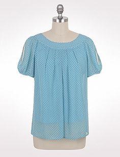 Plus Size Dotted Cold-Shoulder Top | Dressbarn