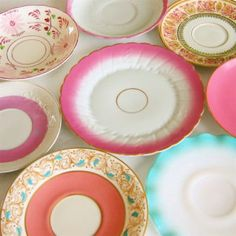 """Mismatched vintage china plates are """"tea party"""" appropriate."""