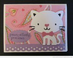 Cat Card Using Create A Critter Cricut Cartridge & My Pink Stamper