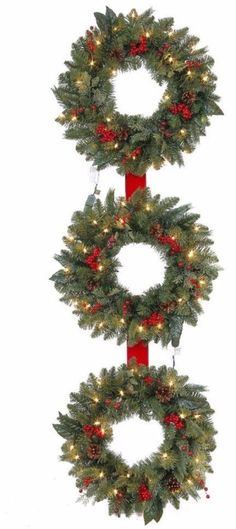 Pre Lit Artificial Christmas Wreath with 25 Clear Lights Holiday Decor 60 Inch #ChristmasWreath #Wreaths #Garland #Artificial #PreLit #ClearLights #Pine #HangingDecor #Christmas #ChristmasDecor #Holiday #Seasonal #HomeDecor #60Inches