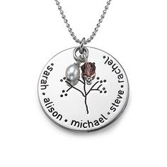 Sterling Silver Family Tree Necklace | MyNameNecklace September and October birthstones