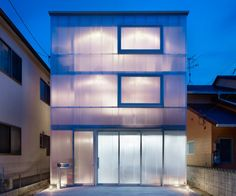 This house in Japan was designed by Suppose Design Office as a three-story steel structure wrapped in polycarbonate plastic. Anyone up for designing a Lucite Lux® house? in the house Media Architecture Design, Japanese Architecture, Contemporary Architecture, Design Garage, House Design, Design Design, Building Facade, Building A House, Suppose Design Office