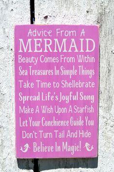 Mermaid Beach Signs, Advice From A Mermaid Wall Art Custom Wood Beach Decor Ocean Wood Sign Girls Nautical Nursery Bedroom Bathroom Plaque - The Sign Shoppe - 1